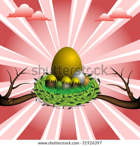 Abstract colorful illustration with golden egg standing between small eggs in a nest - stock vector