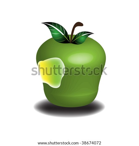 Abstract colorful illustration with green bitten apple - stock vector