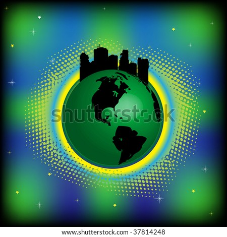 Abstract colorful illustration with green earth and modern buildings on top. Planet with urban city concept - stock vector