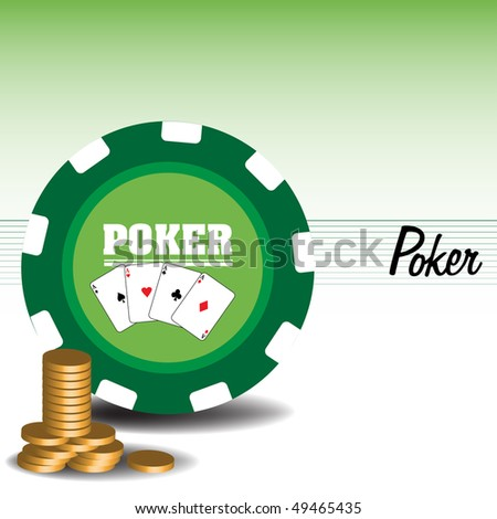 Abstract colorful illustration with huge poker chip and golden coins. Poker game theme - stock vector