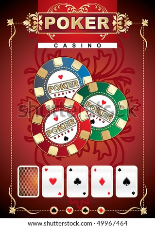 Abstract colorful illustration with huge poker chip. Poker game theme - stock vector