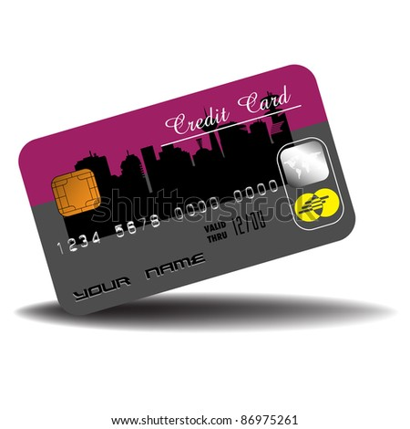 Abstract colorful illustration with isolated credit card on a white background. Banking theme - stock vector