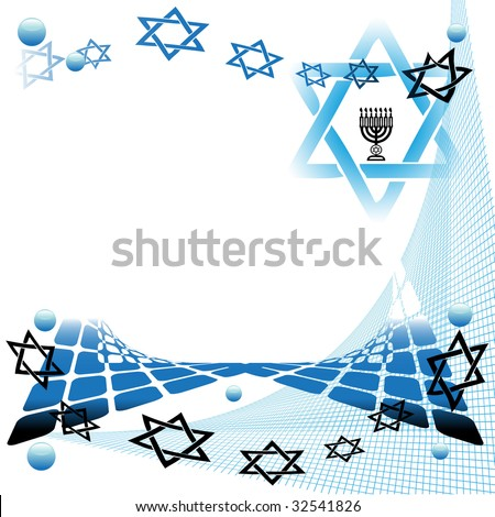 Abstract colorful illustration with jewish symbols. Abstract art with menorah symbol and the star of David - stock vector