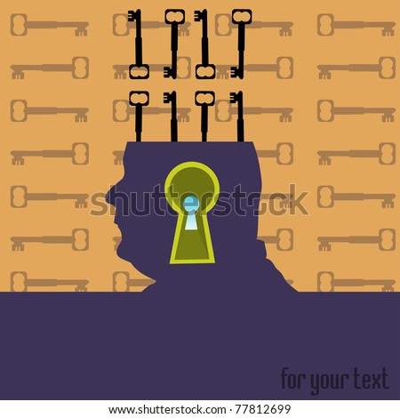 Abstract colorful illustration with keys coming out from a human head and a massive keyhole going through his head - stock vector
