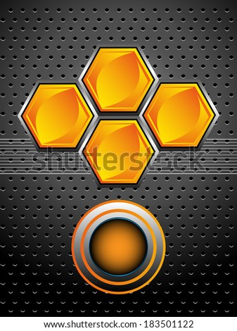 Abstract colorful illustration with metallic surface, honeycombs and a rounded element. High tech background concept - stock vector