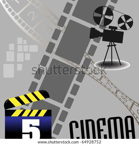 Abstract colorful illustration with movie projector, numbered filmstrip and clapboard. Cinema theme - stock vector
