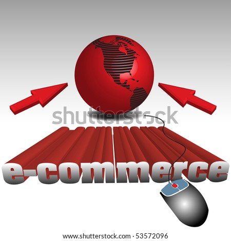 Abstract colorful illustration with red globe, two cursors, computer mouse and the text e-commerce written with huge letters - stock vector