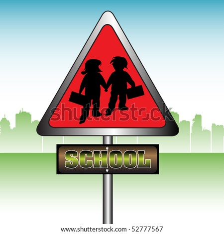 Abstract colorful illustration with red school sign showing two children