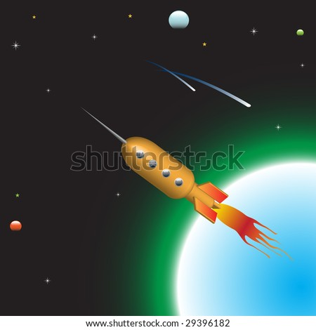 Abstract colorful illustration with rocket flying away from earth with high speed - stock vector
