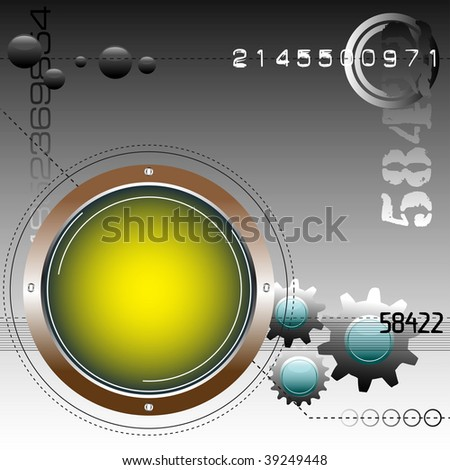 Abstract colorful illustration with rounded yellow frame, numbers and colored gears. High tech concept - stock vector