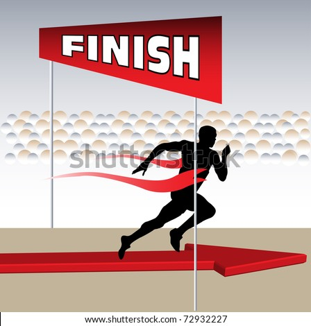Abstract colorful illustration with runner getting to the finish line - stock vector