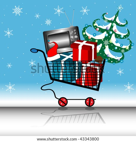 Abstract colorful illustration with shopping cart full of gift boxes, tv and Christmas tree. Shopping cart - stock vector