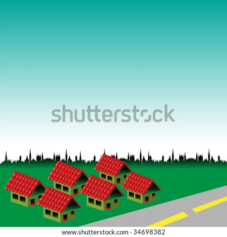 Abstract colorful illustration with six houses with red roof near a road. Brand new neighbourhood concept - stock vector