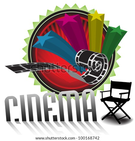 Abstract colorful illustration with stars, filmstrip, director chair and the word cinema coming out from the white floor. Cinema theme - stock vector