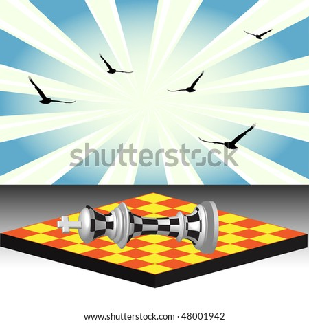 Abstract colorful illustration with the chess king checkmated and fallen down - stock vector