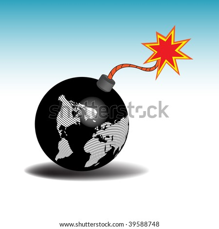 Abstract colorful illustration with the earth as a bomb ready to explode