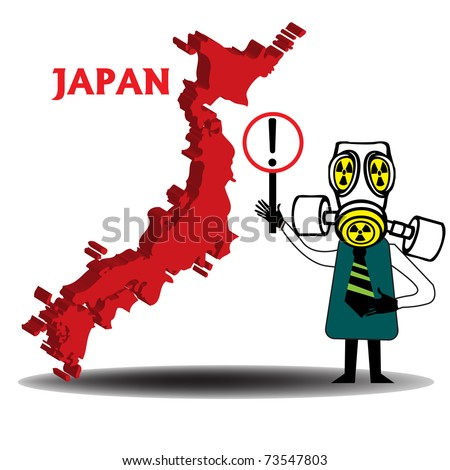 Abstract colorful illustration with the map of Japan and a man wearing a gas mask holding a sign in order to attention that there is a dangerous area - stock vector