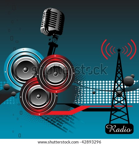 Abstract colorful illustration with three loudspeakers and microphone. Radio theme - stock vector