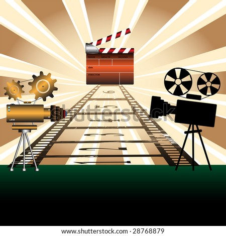 Abstract colorful illustration with two movie projectors, numbered filmstrip and colored clapboard - stock vector