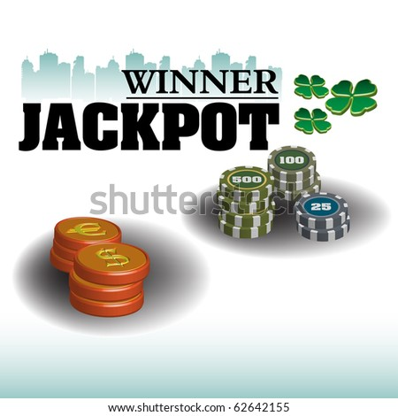 Abstract colorful illustration with various coins representing large money amounts gathered in a huge lottery jackpot. Jackpot winner concept - stock vector