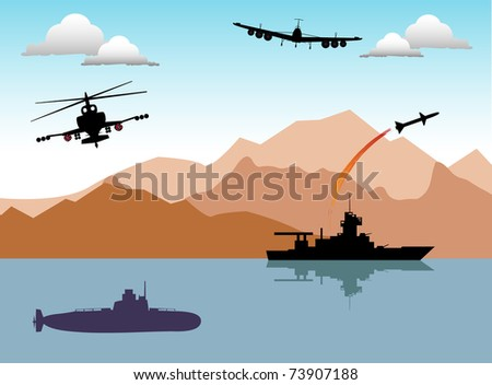 Abstract colorful illustration with war ship launching a rocket, submarine, helicopter and war plane. Conflict area theme - stock vector