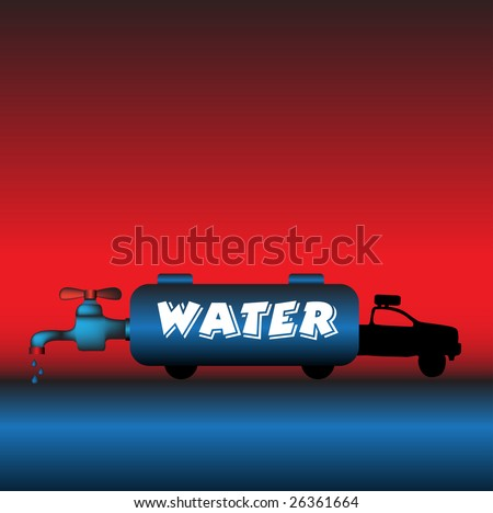 Abstract colorful illustration with water truck and a big tap in the back of the truck - stock vector