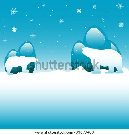 Abstract colorful illustration with white snowflakes and two polar bears standing in front of icy rocks - stock vector