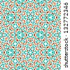 Abstract colorful kaleidoscope seamless pattern in blue and orange, vector - stock vector