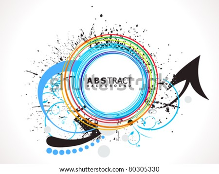 abstract colorful line circle splash vector illustration - stock vector
