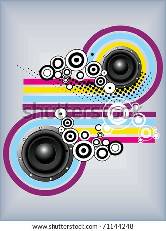 abstract colorful lines, circle background with musical vinyl