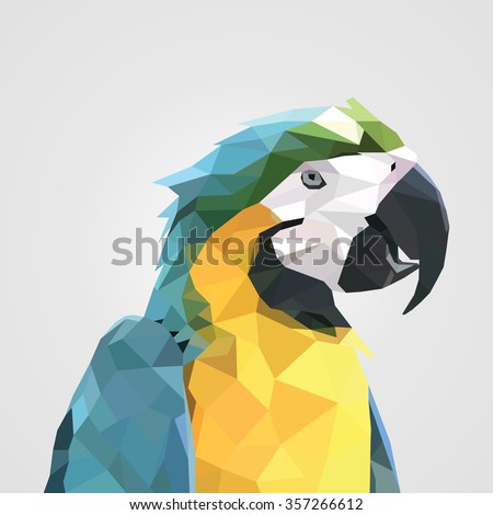 abstract colorful low polygon macaw parrot head. Vector illustration. - stock vector