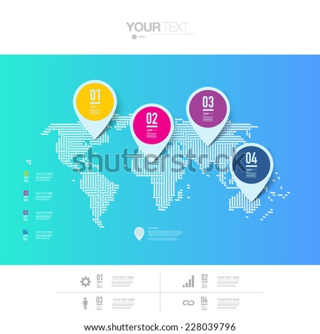 Abstract colorful map pin icon design with shadows on minimal world map background  Eps 10 stock vector illustration  - stock vector