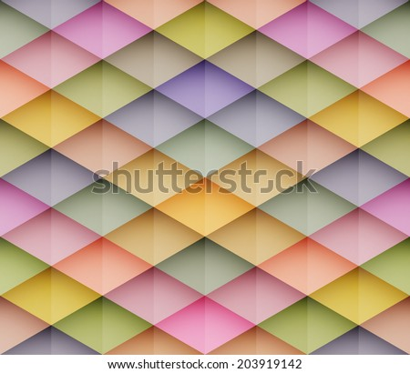 Abstract colorful mosaic seamless vector background. Graphic pattern with rhombus elements. Vector seamless illustration - stock vector