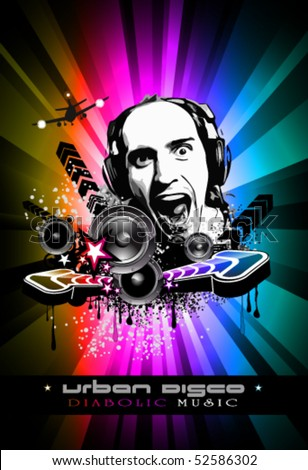 Abstract Colorful Music Event Background with Dj Shape and Rainbow Colours