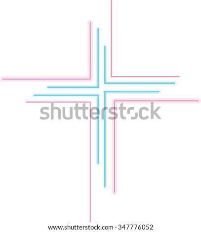 Abstract colorful neon cross logo - stock vector