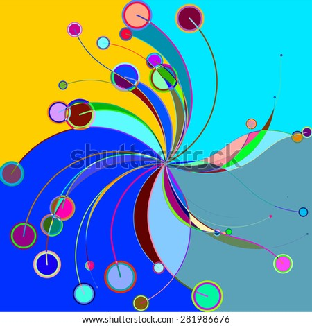 Abstract colorful pattern in retro style composed of gently curved lines and circles