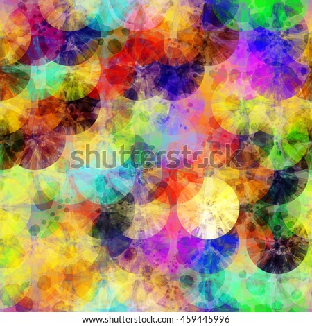 Abstract colorful pattern of discs. Randomly mixed. Overlapping. Transparency. Big confetti. Grunge texture. Colorful background.