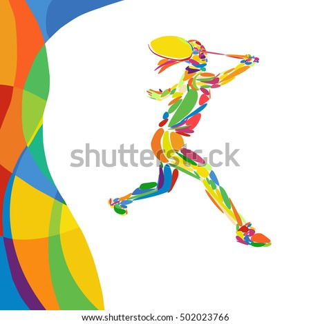 Abstract colorful pattern with Badminton player