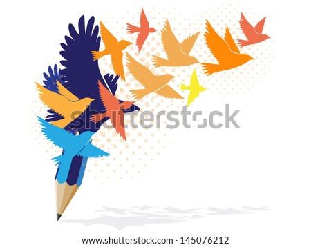 Abstract colorful pencil with birds image - stock vector