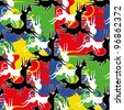 Abstract colorful playing animals. Seamless pattern. Vector. - stock vector