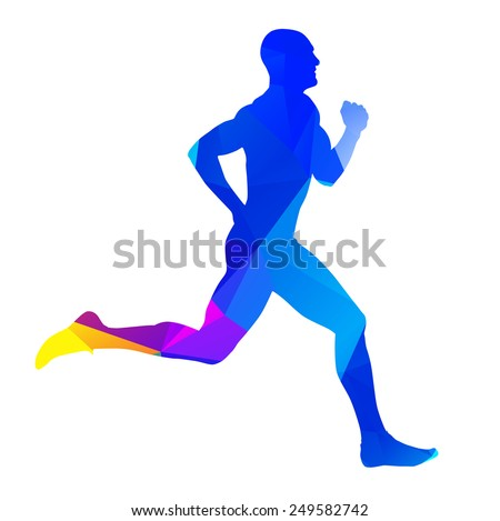 Abstract colorful runner silhouette - stock vector