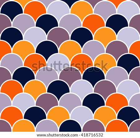 Abstract colorful scallop seamless vector pattern. Fish scales repeat wallpaper. - stock vector