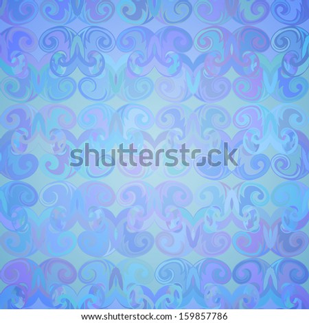 Abstract colorful seamless pattern in blue tones with curls. Vector illustration. - stock vector