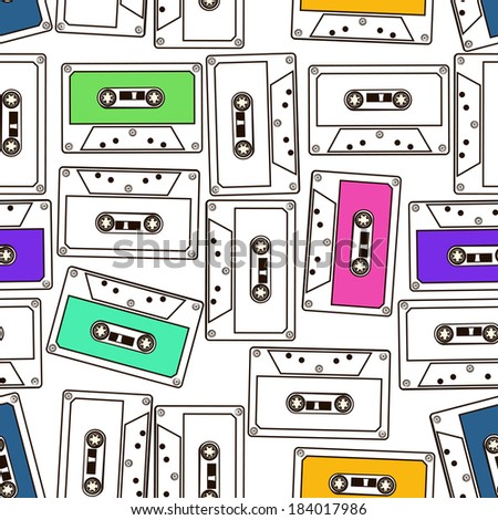 Abstract colorful seamless pattern of audio cassette tapes