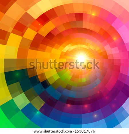 Abstract colorful shining circle tunnel vector background - stock vector