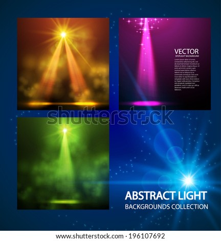 Abstract colorful spotlight background collection. Vector illustration - stock vector