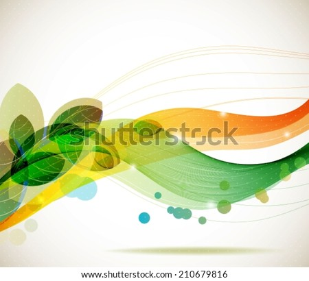Abstract colorful template background, Brochure design with beautiful wave, natural eco design with leaf, VECTOR - stock vector