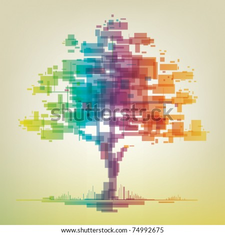 abstract colorful tree - stock vector