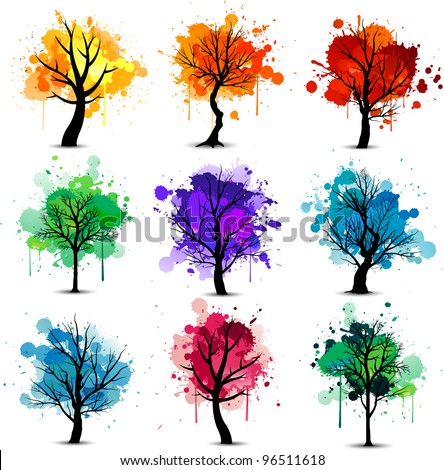 Abstract colorful tree background collection - stock vector
