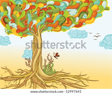 Abstract colorful tree of life - stock vector